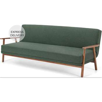 Lars 3 Seater Sofa Bed, Darby Green and Walnut Stain (H82 x W211 x D85cm)