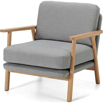 Lars Accent Armchair, Mountain Grey and Oak Frame (H74 x W70 x D80cm)