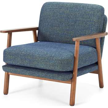 Lars Accent Armchair, Revival Blue and Walnut Stain (H74 x W70 x D80cm)