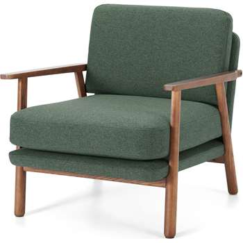Lars Accent Chair, Darby Green and Walnut Stain (H70 x W74 x D80cm)