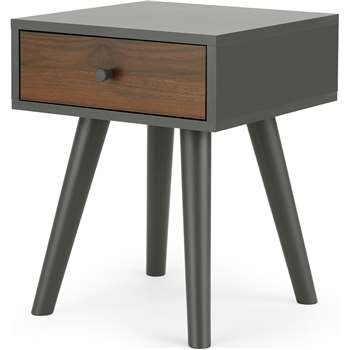 Larsen Bedside Table, Walnut Effect & Grey (H57 x W45 x D45cm)