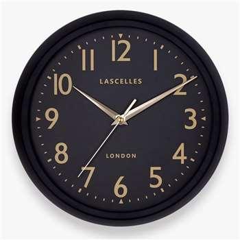 Lascelles Carey Wall Clock, Black (H30 x W30 x D7cm)