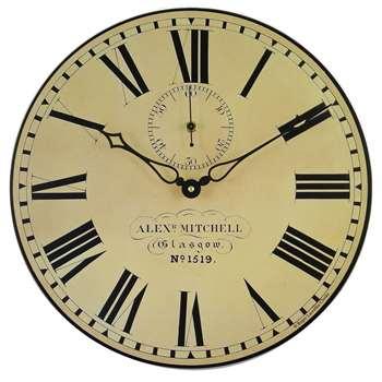 Lascelles Glasgow Station Wall Clock, Cream (H36 x W36 x D3.5cm)