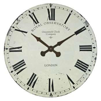 Lascelles Greenwich Wall Clock, Dia.70cm, Cream (H70 x W70 x D4.5cm)