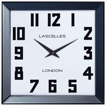 Lascelles Manhattan Square Mirror Frame Wall Clock, Black (H50 x W50 x D6cm)
