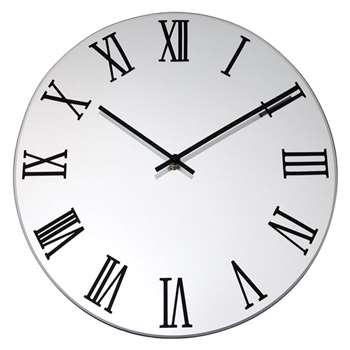 Lascelles Mirrored Clock, Silver (36 x 36cm)