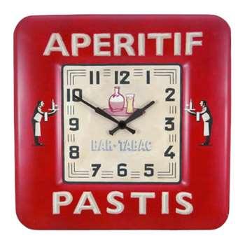 Lascelles Pastis Wall Clock, Red (H31 x W31 x D3cm)