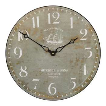 Lascelles Tea Clipper Ship Wall Clock, Grey (H36 x W36 x D3.5cm)