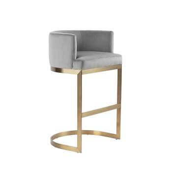 Lasco Bar Stool – Dove Grey - Brushed Brass base (H98 x W60 x D50cm)