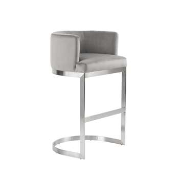 Lasco Bar Stool – Dove Grey - Brushed Stainless Steel Base (H98 x W60 x D50cm)