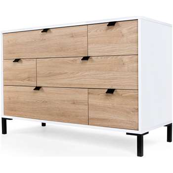 Latymer Multi Chest of Drawers, Oak Effect and White Gloss (71 x 110cm)