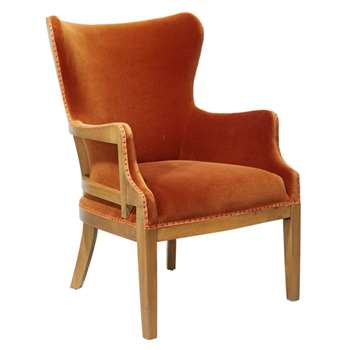 Launceston Velvet Armchair - Dirty Orange (95 x 67cm)