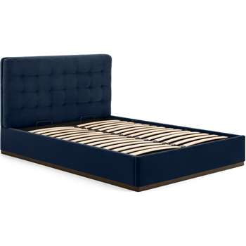 Lavelle Double Ottoman Bed, Ink Blue Velvet & Walnut Stain Plinth (H110 x W149 x D214cm)