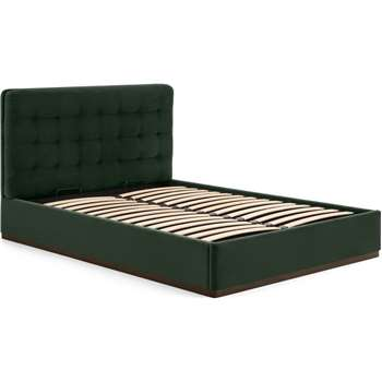 Lavelle Double Ottoman Bed, Laurel Green Velvet & Walnut Stain Plinth (H110 x W149 x D214cm)