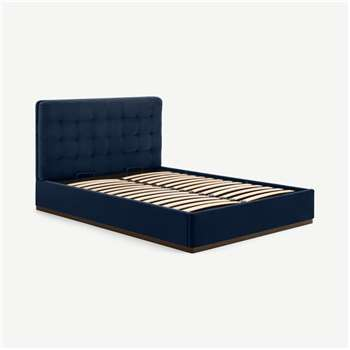 Lavelle Super King Size Ottoman Storage Bed, Ink Blue Velvet & Walnut Stain Plinth (H110 x W194 x D222cm)
