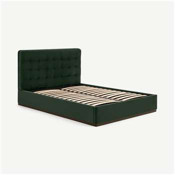 Lavelle Super King Size Ottoman Storage Bed, Laurel Green Velve & Walnut Stain Plinth (H110 x W194 x D222cm)