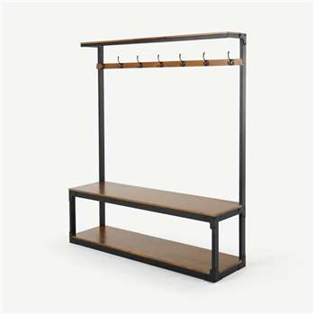 Layne Extra Large Hall Stand, Mango Wood and Black Metal (H180 x W150 x D39cm)