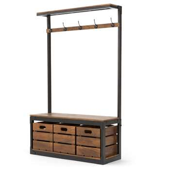 Layne Large Hall Stand,  Black and Mango Wood (H180 x W110 x D39cm)