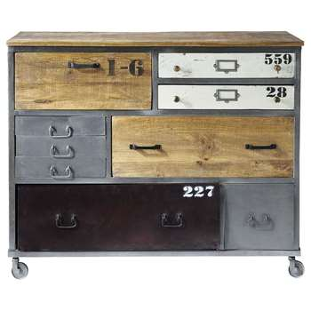 LAZARE Metal drawer chest on castors (96 x 120cm)