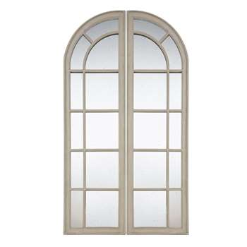 LAZARE - Paulownia Aged Effect Mirror in 2 Sections (H180 x W100 x D3.5cm)