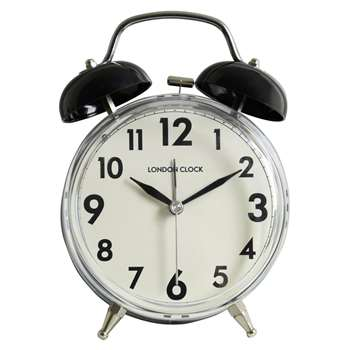 LC Twin Bell Alarm Clock - Black 16.3 x 12.5cm