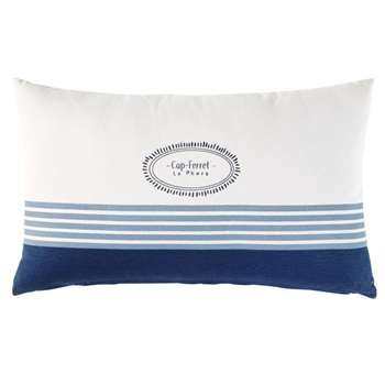 LE PHARE Outdoor Cushion in Ecru Cotton with Blue Print (H30 x W50 x D10cm)