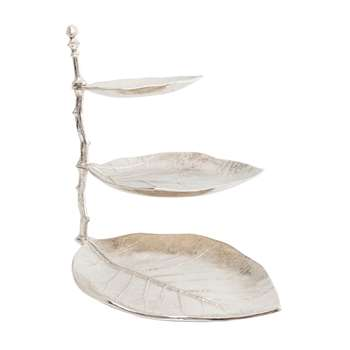 Leaf etagere three tier silver (46 x 32cm)