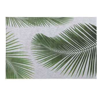 LEAF Grey Outdoor Rug with Palm Leaf Print (H155 x W230cm)