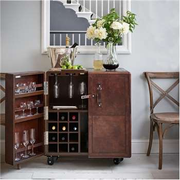 Leather Cocktail Cabinet - Brown (H93.5 x W81.5 x D54cm)