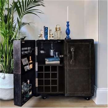 Leather Cocktail Cabinet - Grey (H93.5 x W81.5 x D54cm)