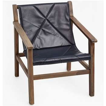 Leather Sling Back Chair - Blue (76 x 66cm)