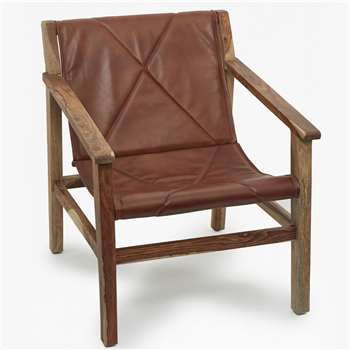 Leather Sling Back Chair - Brown (76 x 66cm)
