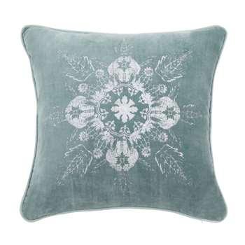LEDEGEM - Blue Cushion Cover with Silver Print (H40 x W40cm)