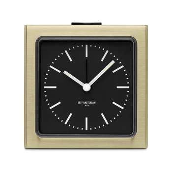 LEFF amsterdam - Block Alarm Clock - Brass/Black (8.5 x 8.5cm)