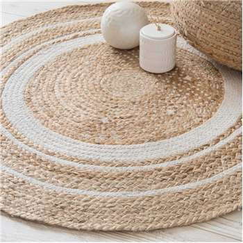 LEIGH round white cotton and jute rug (90 x 90cm)