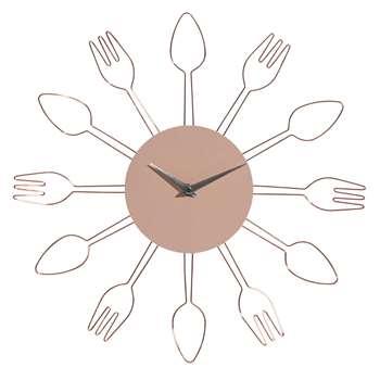 LELY copper-coloured metal utensil clock (38 x 38cm)