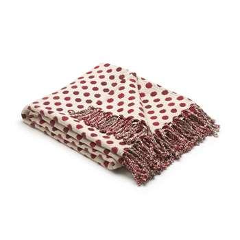 Lemington Raspberry Polka Dot Cotton Throw (200 x 150cm)
