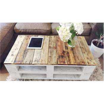 LEMMIK Pallet Coffee Table, Reclaimed Wood (H28 x W90 x D50cm)