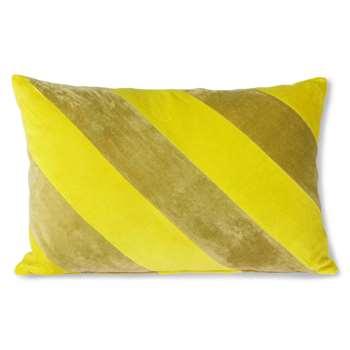 Lemon and Lime Striped Velvet Cushion (H40 x W60cm)