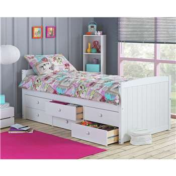 Lennox - Single Cabin Bed with 6 Drawer &Ashley Mattress - White (74 x 96cm)