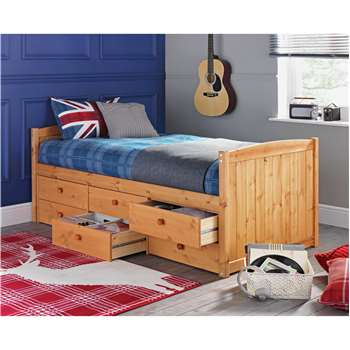 Lennox - Single Cabin Bed with 6 Drawers - Pine (74 x 96cm)
