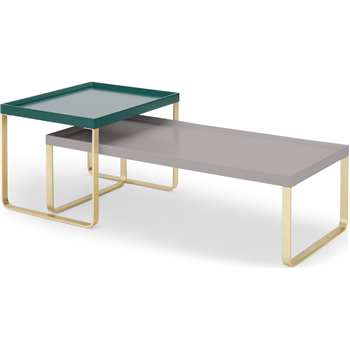 Lenny Painted Nesting Coffee Table,  Racing Green and Grey (H30 x W100 x D47cm)