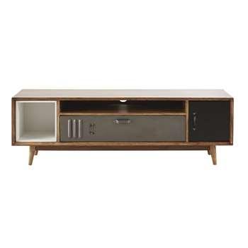 Lenox - Mango Wood and Metal Industrial-Style 2-Door TV Unit (H45 x W140 x D40cm)