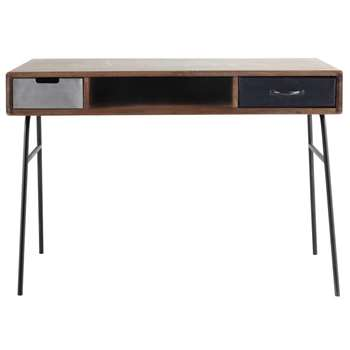 LENOX - Solid Mango Wood and Metal Vintage Desk (H75 x W115 x D60cm)