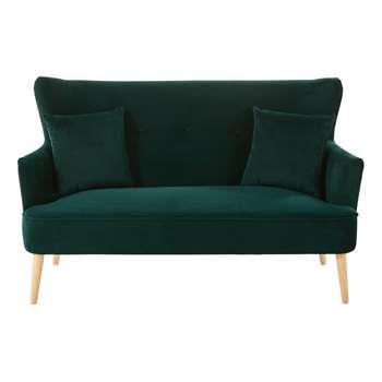 LEON Green Vintage 2-Seater Velvet Sofa (87 x 148cm)
