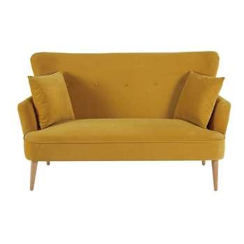 LEON Mustard Yellow 2-Seater Velvet Sofa (H87 x W148 x D71cm)
