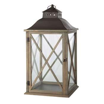 LEONTINE grey wood garden lantern (72 x 37cm)