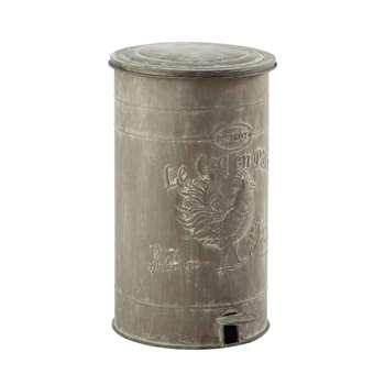 LEONTINE zinc look metal bin (46 x 30cm)