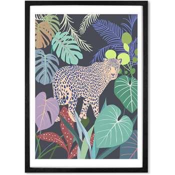 Leopard Jungle Framed A1 Wall Art Print, Multicoloured (H86 x W61 x D2cm)