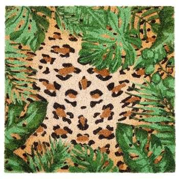 Leopard Print Coconut Fibre Door Mat (H45 x W45cm)